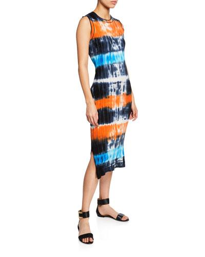 Tie-Dye Ribbed Knit Midi Dress