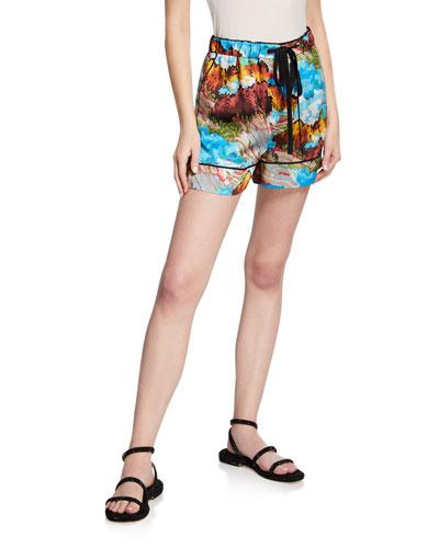 Landscape Print Pajama Shorts