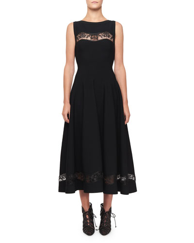 Raffia-Embroidered Sheer Panel Dress  Black