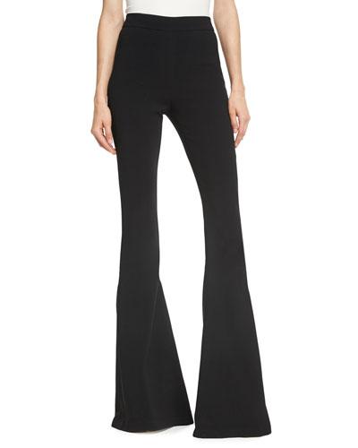 High-Waist Crepe Kick-Flare Pants, Black