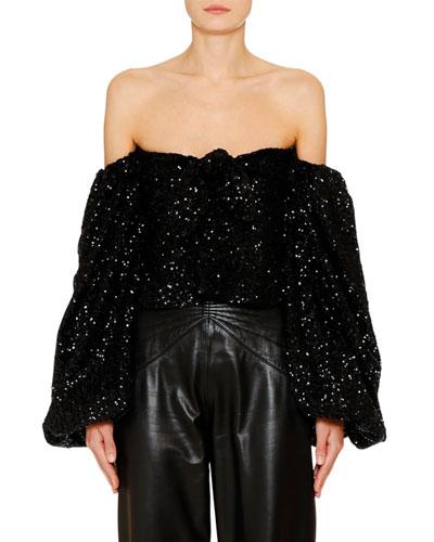 Off-the-Shoulder Sequin Top