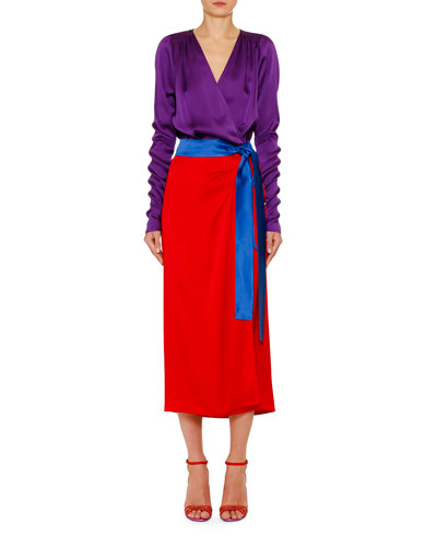 Bicolor Crepe and Satin Enverse Wrap Dress