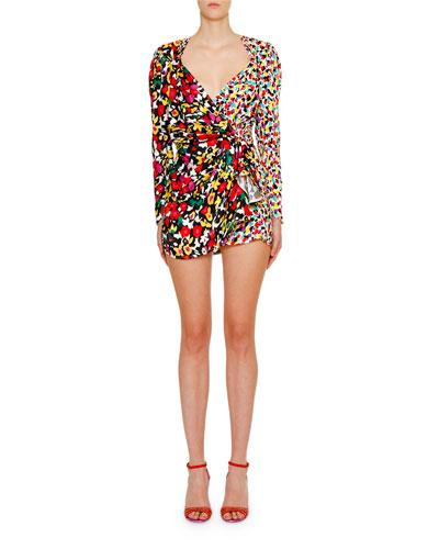 Long-Sleeve Mixed-Print V-Neck Mini Dress