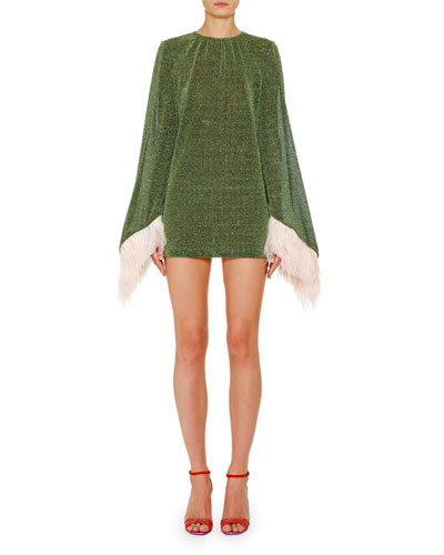 Shimmer Feather-Cuff Mini Dress