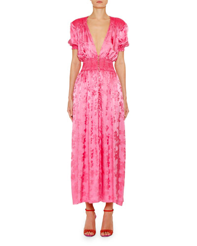Puff-Sleeve Jacquard Floral Dress
