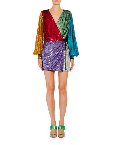 Long-Sleeve Sweetheart-Neck Sequin Mini Cocktail Dress