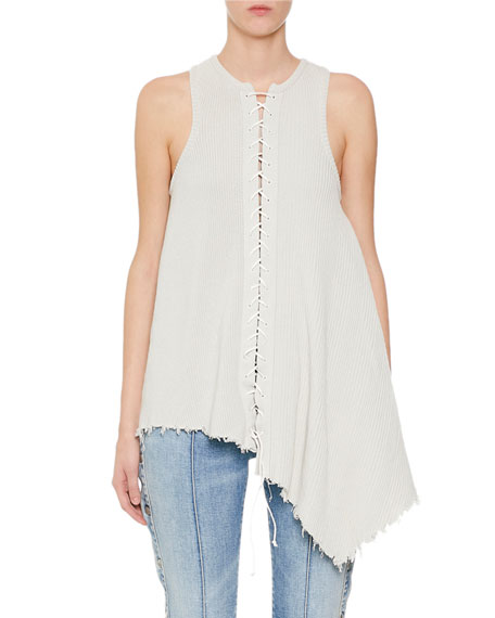 BEN TAVERNITI UNRAVEL PROJECT ASYMMETRIC LACE-UP RIBBED TANK
