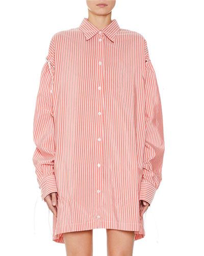 Striped Lace-Up Overshirt Dress