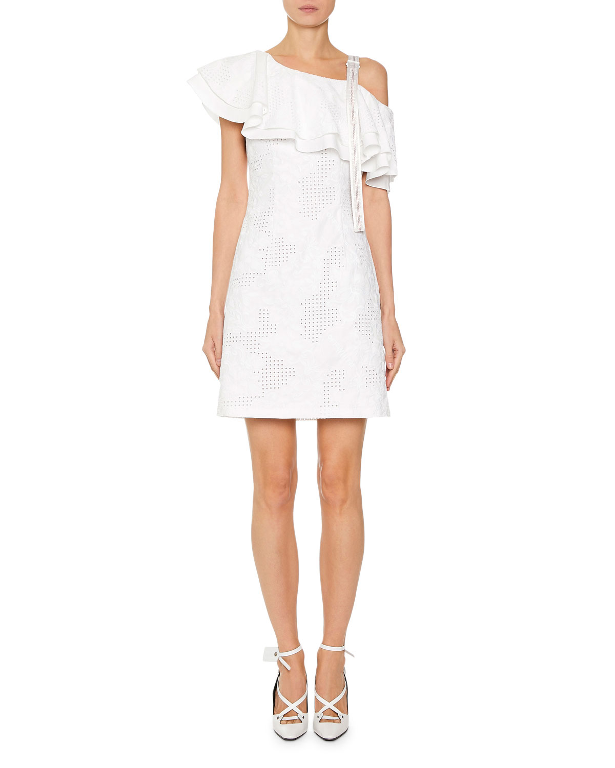 cdd34a7b0ff1 Off-White Ruffled Sangallo Lace One-Shoulder Dress