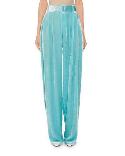 Pleated Crushed Velvet Trousers