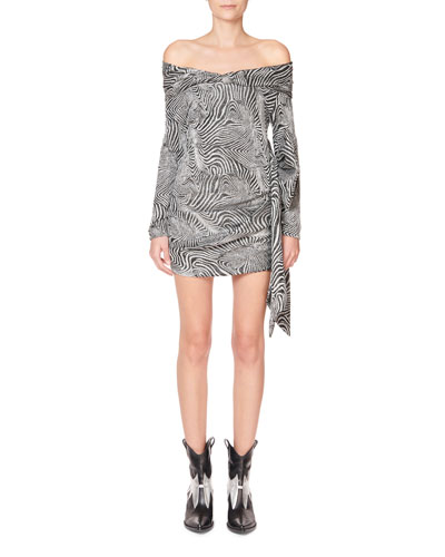 Off-The-Shoulder Bow-Hem Mini Dress