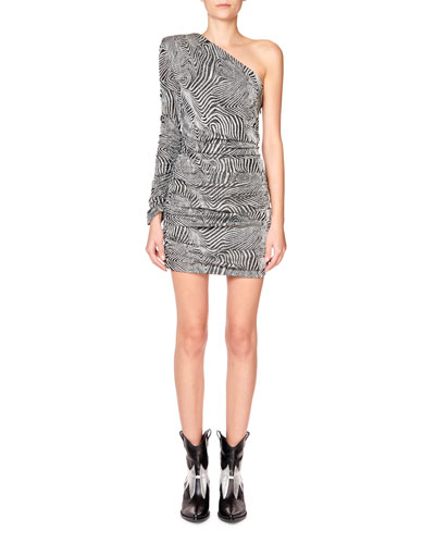 One-Shoulder Long-Sleeve Mini Dress