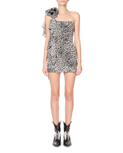 Animal Print Rosette-Shoulder Mini Dress