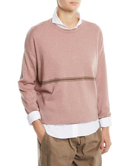 3cd59ba5554 Brunello Cucinelli Cashmere Crewneck Sweater w  Monili Stripe