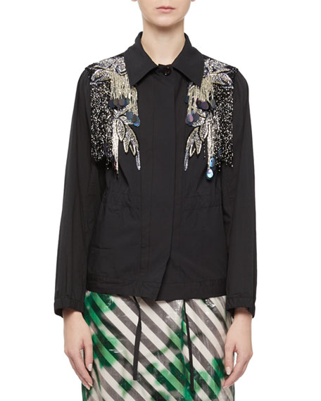 DRIES VAN NOTEN EMBELLISHED BUTTON-FRONT JACKET WITH BEADING & PAILLETTES