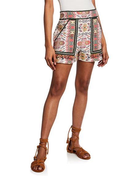 Talitha JACQUARD FRINGE SHORTS WITH PATCH POCKETS