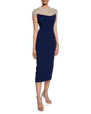 da2d6443fb3 Jenny Packham Olivia Beaded Tulle Illusion Cap-Sleeve Midi Dress