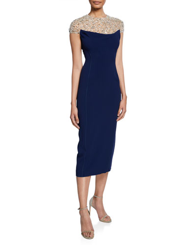 Olivia Beaded Tulle Illusion Cap-Sleeve Midi Dress