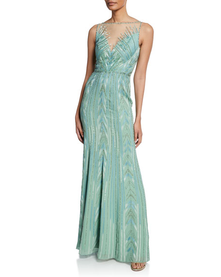 Jenny Packham Bacall Beaded Geometric Sleeveless Column Gown