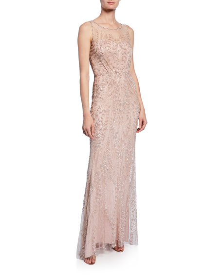 Jenny Packham Hermia Feather-Beaded Illusion Gown