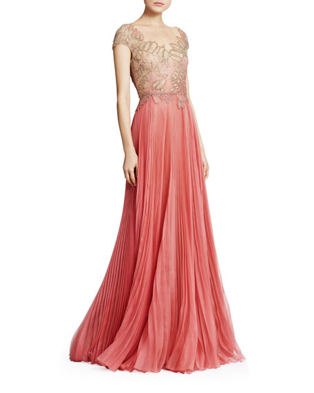 Marchesa Tops EMBROIDERED ORGANZA & TULLE ILLUSION GOWN