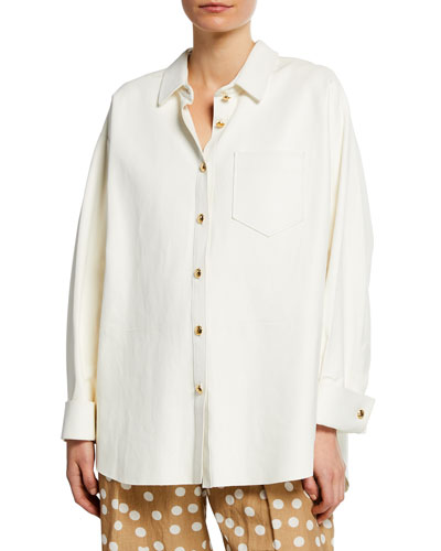 Suede Button-Front Shirt