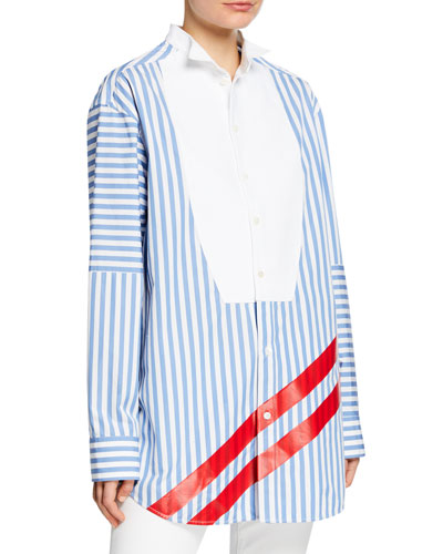 Striped Bibbed Long-Sleeve Blouse