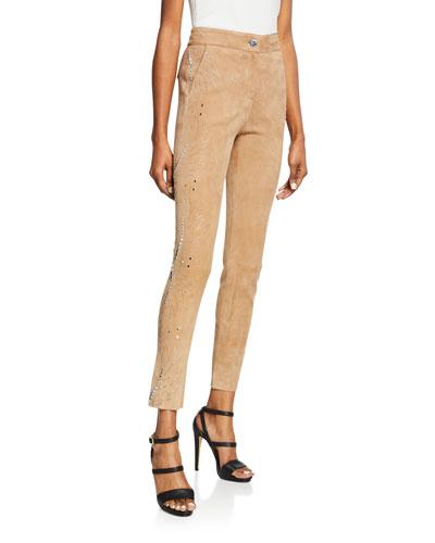 Tropical Side-Stud Suede Pants
