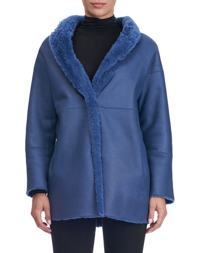 Shearling Fur-Lined Shawl-Collar Coat