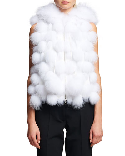 Fox Fur Hooded Zip-Front Vest