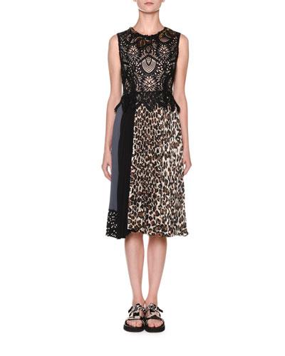 Lace-Bodice Leopard-Skirt Dress
