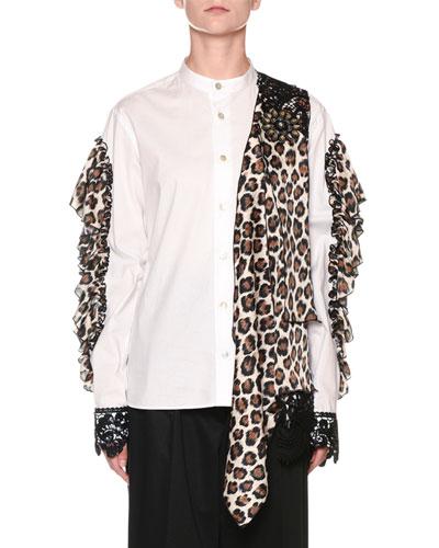 Leopard-Print Collage Open-Arm Shirt