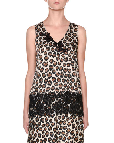 Leopard-Print Sleeveless V-Neck Lace-Trim Top