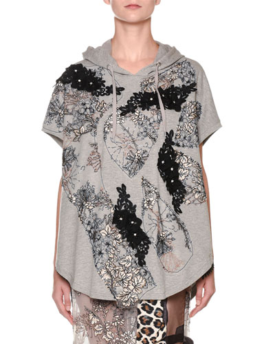 Short-Sleeve Lace-Embroidered Hoodie