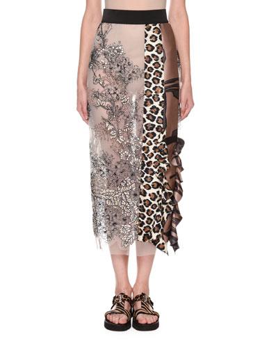 Ruffled Leopard-Print Mixed-Lace Midi Skirt