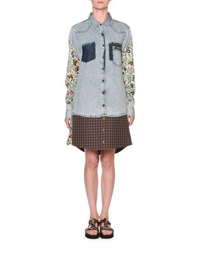 Floral-Sleeve Denim Shirtdress