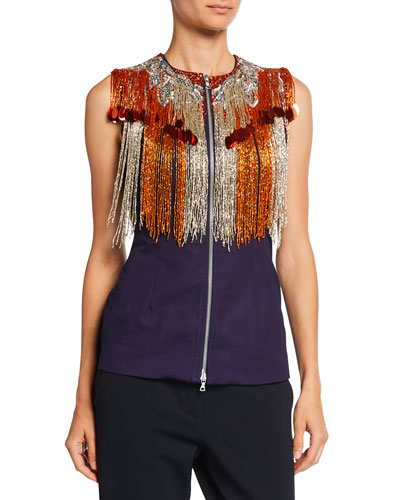 Sequined-Fringe 3/4-Sleeve Zip-Front Vest