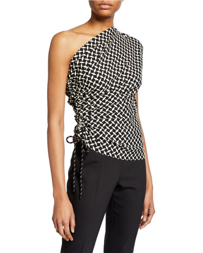 Cezar Check One-Shoulder Top with Cinched Side