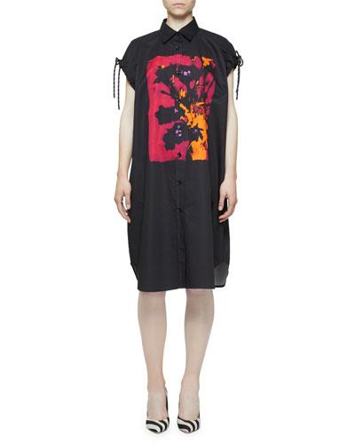 Painted-Print Cap-Sleeve Rope-Toggle Shirtdress