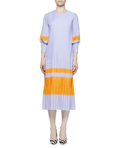 Crewneck 3/4-Sleeve Plisse Pleated Dress w/ Contrast Stripe