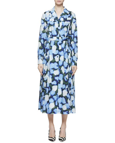 Abstract Peony-Print Long-Sleeve Midi Shirtdress