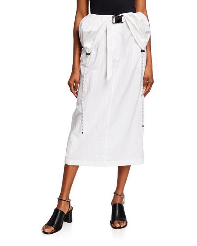 Anorak-Waist Midi Skirt