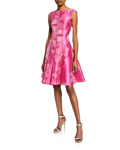 Korbu Hydrangea Jacquard Dress