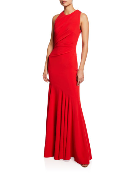 Talbot Runhof SORBETS CUTOUT STRETCH-CREPE HALTER GOWN