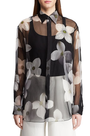 Ralph Lauren Collection Caley Embellished Floral Sequin Shirt