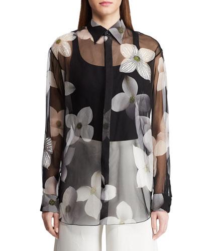 Caley Embellished Floral Sequin Shirt