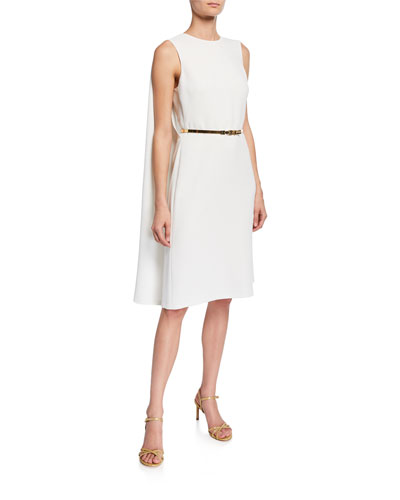 Aviana Belted Cape-Back Cocktail Dress