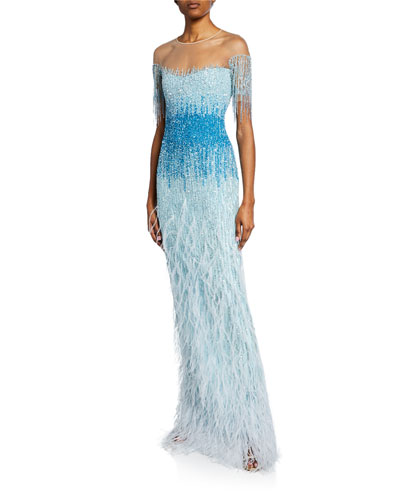 Ombre Beaded-Tulle Illusion Gown