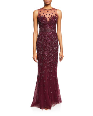 66e7d3433b Zuhair Murad Hibiscus Sequined Illusion Gown
