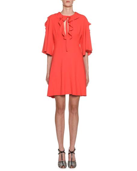 Giambattista Valli Dresses CREPE FLUTTER-SLEEVE RUFFLED NECK DRESS